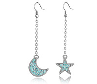 18K White Gold Plated Moons and Stars Rhinestones Earrings Made of Genuine Austrian Crystals Jewelry 3140