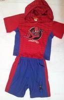 Latest design children cartoon sports suit baby boys red spider man Hooded t-shirt + short set children's clothing Surprise gift