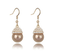 18K White Gold Plated Pearl Drops Rhinestones Earrings Made of Genuine Austrian Crystals Jewelry 6810