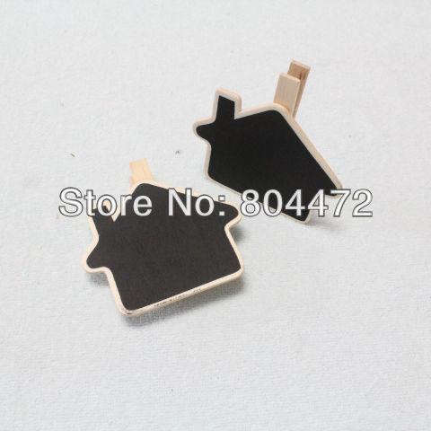 Free Shipping/Mini Wooden blackboard clip/Clip board/ House Chalk Board Peg/ Memo Clip/creative Gift,7 cm, 600 pcs/lot 0919-1(China (Mainland))