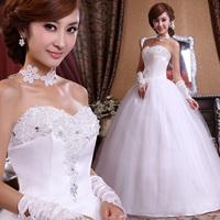 Free shipping 2014  Fashion Rhinestone Flower  Sweet Lace Sexy Bride Princess Wedding Dress New style