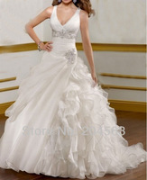 Free Shipping Appliques V neck Wedding Dresses Custom size/color wholesale/retail