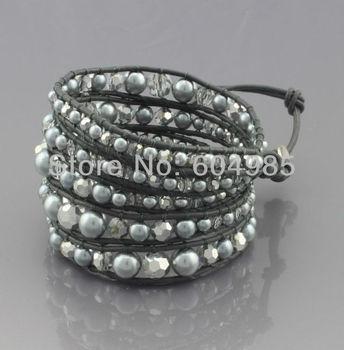 vintage style friendship weaving leather 5 wrap bracelet pearl european bead wholesale jewelry for men women CLB74
