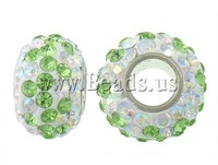 Free Shipping wholesale green and white color A grade rhinestone clay pave brass single core Rondelle European Beads