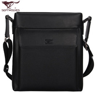SEPTWOLVES male backpack commercial shoulder bag messenger bag check man bag 1082 - 01