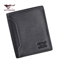Male genuine leather wallet SEPTWOLVES fashion wallet cowhide wallet d14034-01