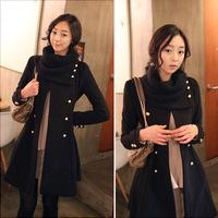 Free shipping Winter coat Women's double breasted long Overcoat hoodies Coat Fur Coat Outerwear 0215