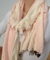 free shipping -women fashion pendant scarf jewerly scarf pink