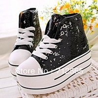 free shipping Crystal sequins high help thick bottom sponge cake high with female canvas shoes