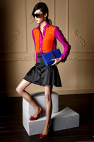 Free shipping  2013 Hot sale  Girls Orange & Rose red Color Blocking Chiffon Casual  Shirts  Ladies Womens  Autumn blouse
