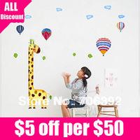 Retail Free Shipping Kids Rooms DIY Decoration Giraffe Height Wall Sticker 1pcs/lot