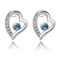 Free Shipping 18K Gold Plated Heart Crystal Earrings,make with SWA Elements,Fashion Earrings fit for Women  Z500E1026