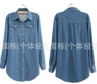 Pear button Jeans Dark Blue Color Thin Medium-long Denim Shirt Long-sleeve Women's Plus Size Outerwear Blouse 6 Size
