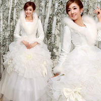 Brand new luxury 2013 wedding dress full sleeve stand collar cotton-padded bride gown used in winter keep warm high quality