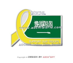 Free Shipping Newest High Quality Support Our Troops Awareness Saudi Arabia Flag Yellow Ribbon Lapel Pins(China (Mainland))