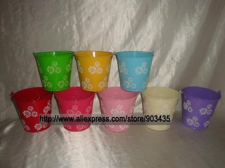 Free Shipping Wedding Favour Metal Bucket/Pail Flower Design Table Gift Box (Large)(China (Mainland))
