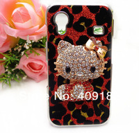Hot Gift Bling Shiny Rhinestone 3D Hello Kitty Leopard Hard Back Case Cover for Samsung Galaxy Ace S5830 Phone Case