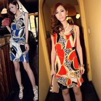 Free shipping printed leopard viscose dress/ one-piece dress/Evening prom dress/Fashinable night club dress