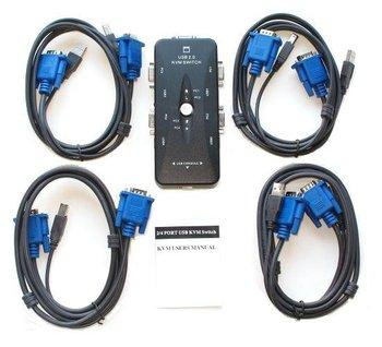 4-Port USB 2.0 KVM Switch 0 + VGA cable Mouse/KYB/VID