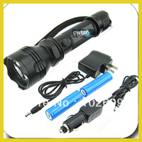 CREE LED 7W Rechargeable Zoomable Flashlight + 2x 18650 +2x Charger