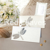 ST0928-06 Hot Sale Laser cutting Dragonfly Place Card on Table 9*9cm 12pcs in an opp bag