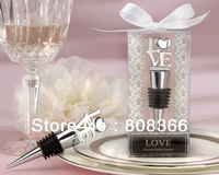 "Factory Directly Sale JJ807 12pcs/lot  ""Love"" Chrome Bottle Stopper use as wedding gifts  Free shipping in 48hours"