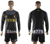 New Liverpool 2012 2013 away gray soccer uniforms long sleeve  football jerseys embroidery suit Fashion kits cloht Free Shipping