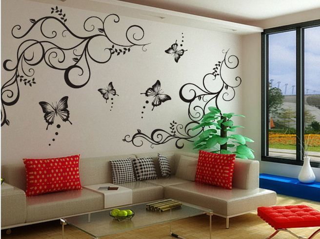 Butterfly Vine Decoration Flower Removable Vinly Wall Poet Art Sticker DIY 3D Wall Decal Quotes Decorative Mural Family Nature(China (Mainland))