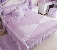 Free shipping EMS korean purple queen size bed comforter set 4pcs city comforter trill duvets and bedding set luxury bed sheets