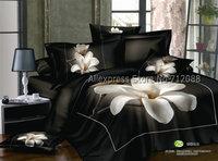 new arrivlas white flower floral pattern black home textile cotton 4pc queen/full bedding sets comforter/quilt/duvet covers