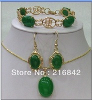Free shipping>>>green jade bracelet earring Necklace pendant