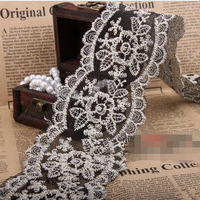 DIY Hand-Made Accessories 7cm Luxurious Peony Black Lace