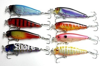 Fishing lures Minnow 8G 7.5CM hard plastic lures hooks 8 colors Fishing lures   20pcs
