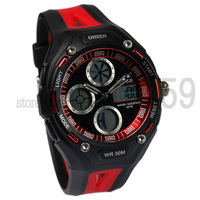Wholesale Free shipping Ohsen brand OHSEN brand Beautiful dual display mens womens quartz Sport Watch wristwatches AD1202