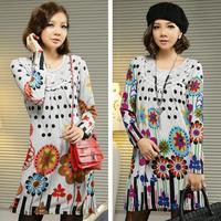 windmill loose casual print dress dot sweater dresses new fashion 2012 women's plus size knee-length dress women F - XXXL