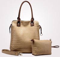 Free shipping 2012 hot sale fashion candy color women's shoulder bag crocodile leather ladies handbag tote monther bags