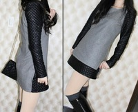 free shipping New arrival long sleeve womens fashion lace dress 1pcs Black/Beige ,A821