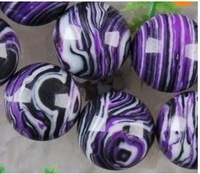 6 10 mm purple veins turquoise ball loose beads 15 ""