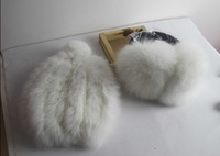 1SET Pure SNOW WHITE Rabbit FUR Hat + Thick Ear Muffs Fur Set Warm Genuine Soft Real Fur GOOD QUALITY free shipping