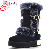 sn002 genuine leather winter snow boots with rabbit fur in medium-leg and slip-resistant platform thermal for free shipping
