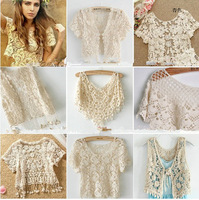 Short design knitted all-match coat fashion cutout crochet cardigan small cape shrug shirt elegant