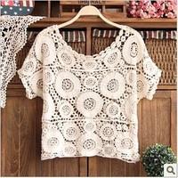 Plus size short design women's one-piece dress crochet shirt cutout crochet short-sleeve loose lace sweater pullover knitted
