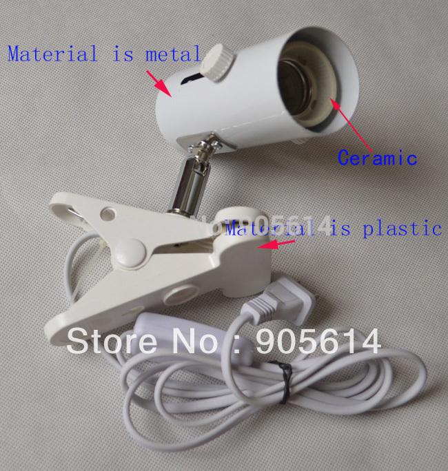 White Light Holder Stand for Reptile Ceramic Infrared Emitter Heat Lamp US Plug(China (Mainland))