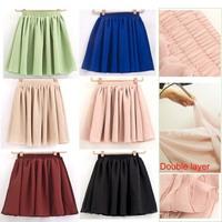 Women Ladies Girl High Waist Pleated Double Layer Short Chiffon Mini puff Skirt  Free shipping