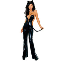 HOT !SEXY Deep V PVC  Patent Leather Bar costumes stage clothes,Pole Dancing Cosplay Costumes  ----A209