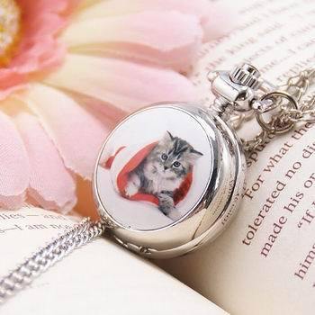 New Quartz Cute Cat Pocket Watch Silver Necklace(China (Mainland))