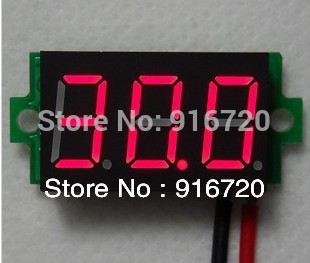 3 digit 0.36' LED digital tube 18650 Battery special 3-30V two lines battery car Digital Display red Digital voltmeter(China (Mainland))