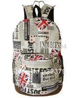 Free Shipping Newspaper Unisex Tactical Sport Canvas UK Flag/England Flag Backpack Rucksack Kids School Bag