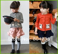 Free shipping Spring Autumn Chirdren's clothing Fashion lovely girls' Splice cardigan 5pcs/lot kid's patchwork coat