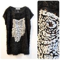 FREE SHIPPING  plus size trophonema owl paillette one-piece dress mm vest women's Blazers